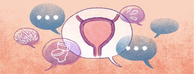 Various speech bubbles depicting treatment side effects surround a diagram of a bladder.