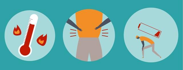 Symptoms of urosepsis, a fever, back pain and fatigue
