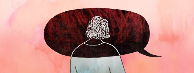 A woman's head and shoulders are overlapped by a giant dark speech bubble bearing bad news.