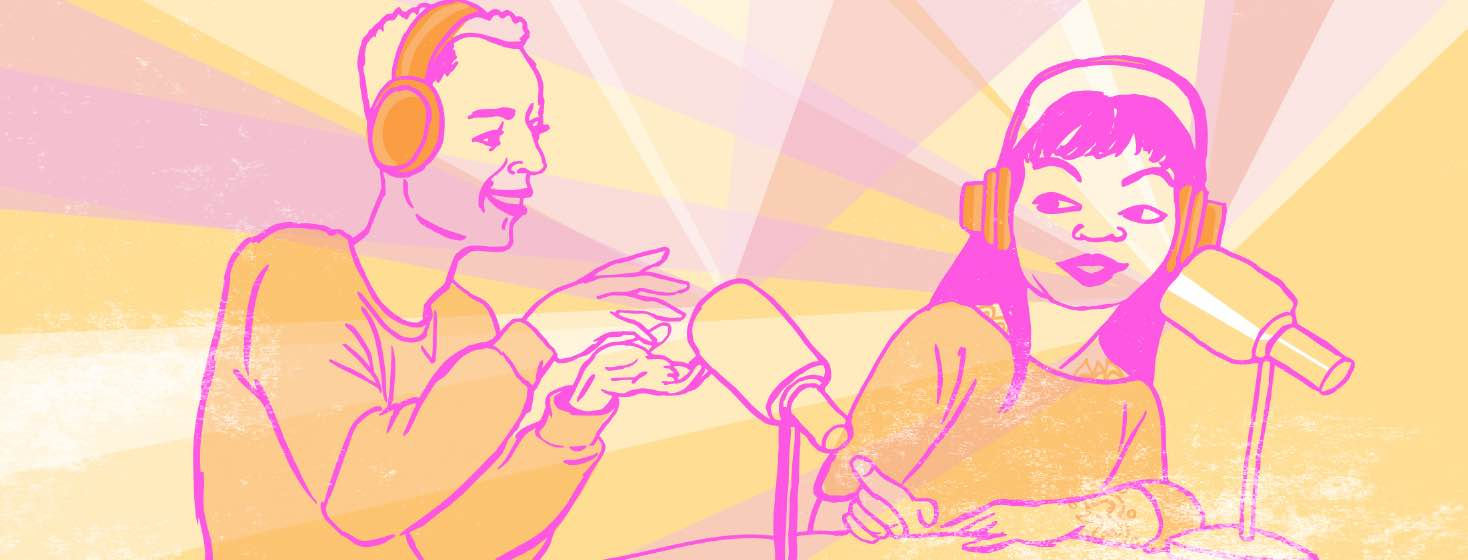 A man and woman talk into microphones for a podcast show.