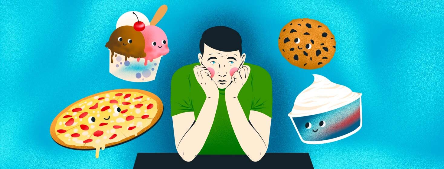A young man sits with his chin on his hands, looking dejected. Around him are floating happy foods, including ice cream, pizza, a cookie, and a tub of Cool Whip. trigger foods,