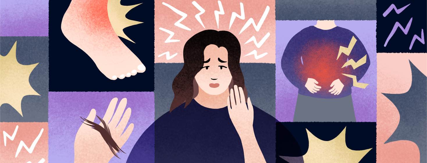 A woman with a pained expression is surrounded by symbols of her pain symptoms.