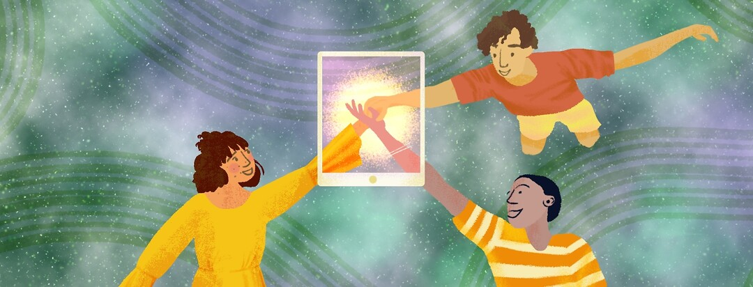 People reach out in space galaxy, screen connects them,