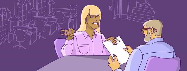 A woman at a job interview.