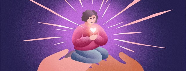 A woman holding a glowing heart is supported by two hands.